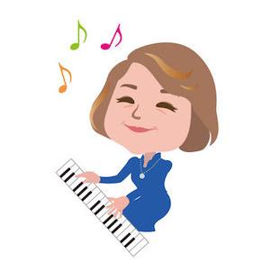 講師:米村和子似顔絵。講師として、また一生徒として、いつも楽しいレッスンを心がけています。